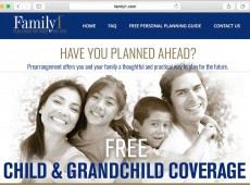 Website layout and imagery for Preneed Insurance Company