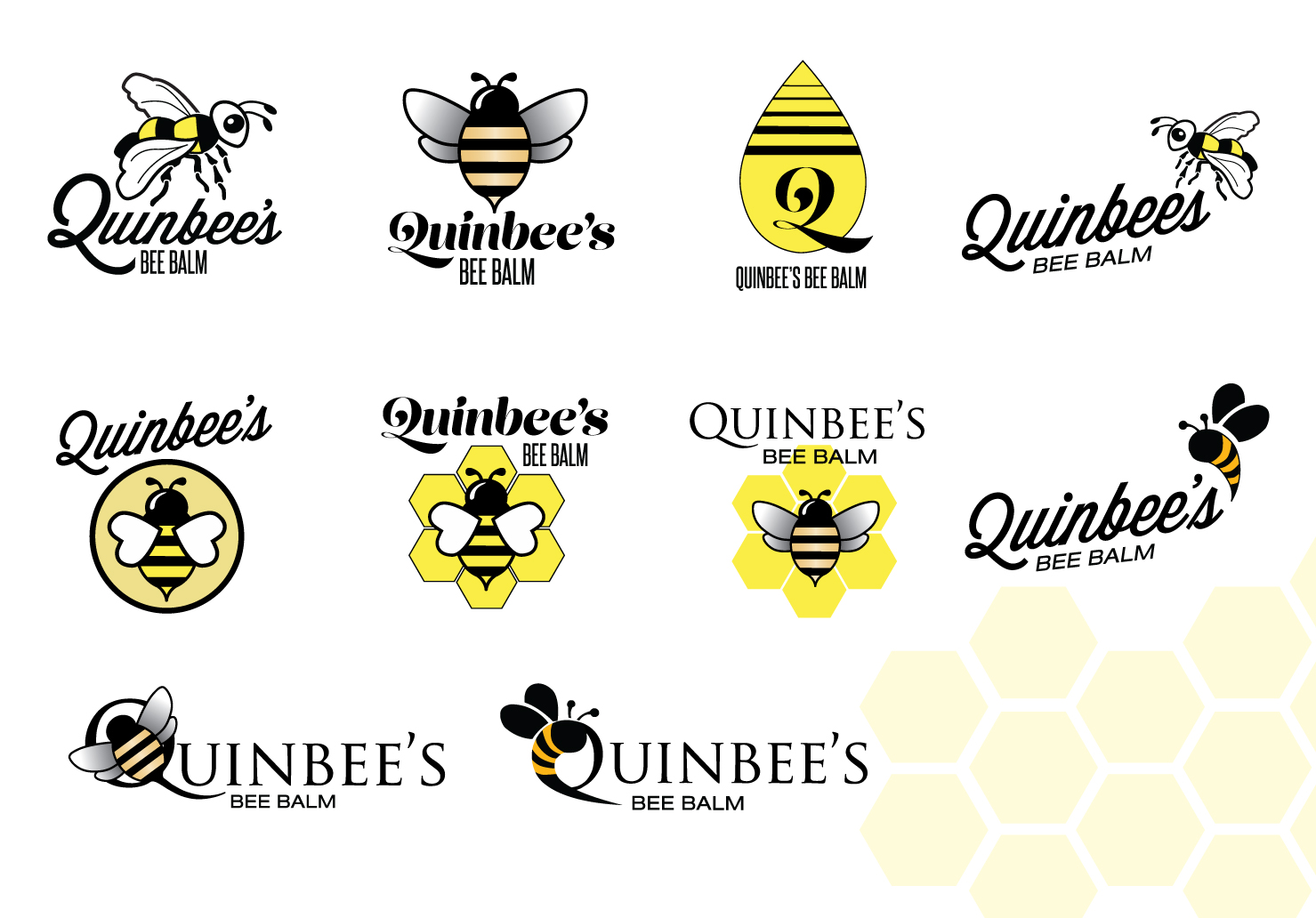 Quinbee's Bee Balm Logo Concepts