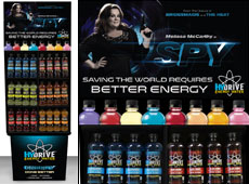 Promotional Beverage Display for Spy Movie